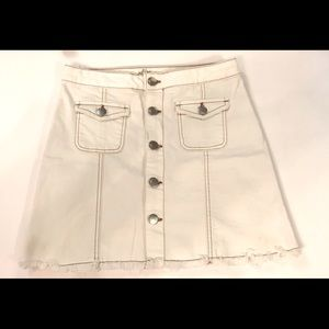Harlow White Denim Distressed Hem Button Up Skirt